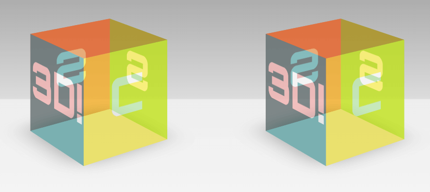 The finished stereoscopic 3D scene with just CSS